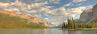 Panoramic of Spirit Island, Jasper National Park.