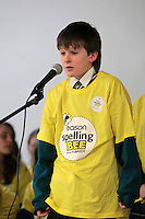 NO FEE PICTURES.8/3/12 Oscar O'Fathaigh, Gaelscoil Eilscir Riada, Leamhran, taking part in the Dublin County final, part of the overall Eason 2012 Spelling Bee, held at St Olaf's NS, Dundrum. .For further details visit www.easons.com/spellingbee and stay tuned to RTE 2fm. Picture:Arthur Carron/Collins