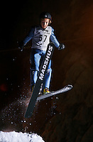 Sander Eriksen (9) ski jumping in Schr&oslash;derbakken, near the center of Oslo.