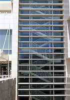 Richard Meier: The Getty Center--North Building, South Facade. 1998. Headquarters--Getty Information Institute, J. Paul Getty Trust, Exposed Stairwell.  Photo '99.