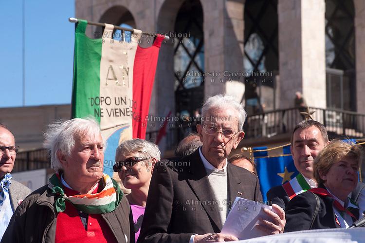 Milano, 25 Aprile 2016, manifestazione per la festa della Liberazione dal nazifascismo. Carlo Smuraglia presidente ANPI.<br /> Milan, April 25, 2016, demonstration for the Liberation Day. Carlo Smuraglia president of The National Association of the Italian Partisans.