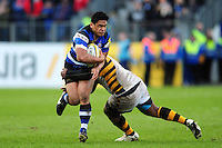 Ben Tapuai of Bath Rugby takes on the Wasps defence. Aviva Premiership match, between Bath Rugby and Wasps on March 4, 2017 at the Recreation Ground in Bath, England. Photo by: Patrick Khachfe / Onside Images