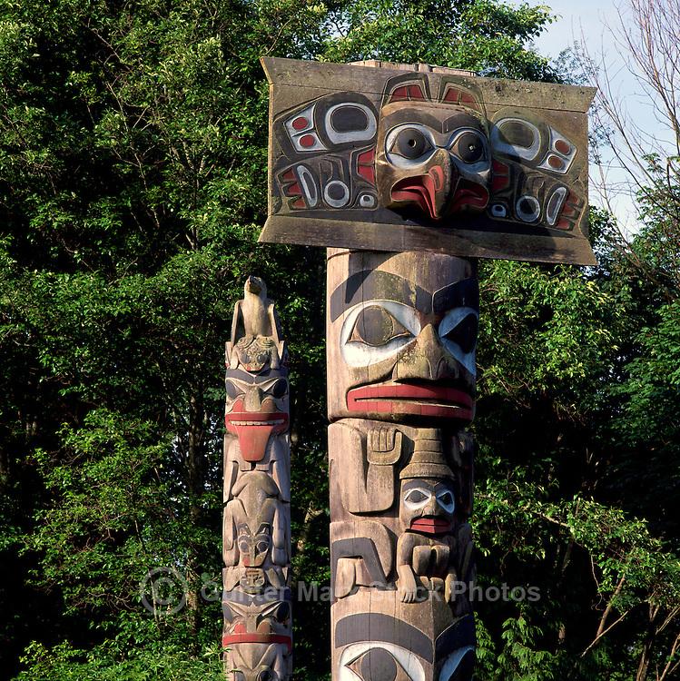 Haida Totem Poles at Museum of Anthropology, University of British Columbia (UBC), Vancouver, BC, British Columbia, Canada.  Mortuary Pole (right).
