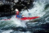 Whitewater Kayaking in Thompson River Rapids near Spences Bridge, BC, British Columbia, Canada