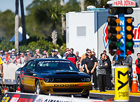 Mar 18, 2017; Gainesville , FL, USANHRA top fuel driver Leah Pritchett drives a Dodge Charger during qualifying for the Gatornationals at Gainesville Raceway. Mandatory Credit: Mark J. Rebilas-USA TODAY Sports