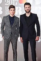 The Chainsmokers - Drew Taggart &amp; Alex Pall at the 2017 Brit Awards at the O2 Arena in London, UK. <br /> 22 February  2017<br /> Picture: Steve Vas/Featureflash/SilverHub 0208 004 5359 sales@silverhubmedia.com