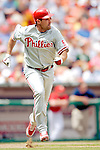 11 June 2006: Pat Burrell, outfielder for the Philadelphia Phillies, runs to first during a game against the Washington Nationals at RFK Stadium, in Washington, DC. The Nationals shut out the visiting Phillies 6-0 to take the series three games to one...Mandatory Photo Credit: Ed Wolfstein Photo..