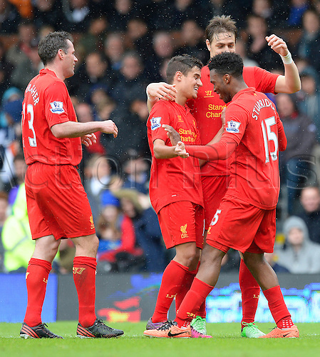 12.05.2013 London, England.  Daniel Sturridge of Liverpool celebrates scoring during the Premier League game between Fulham and Liverpool from Craven Cottage...