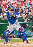 7 October 2016: Los Angeles Dodgers catcher Yasmani Grandal in action during Game 1 of the NLDS against the Washington Nationals at Nationals Park in Washington, DC. The Dodgers edged out the Nationals 4-3 to take the opening game of their best-of-five series. Mandatory Credit: Ed Wolfstein Photo *** RAW (NEF) Image File Available ***