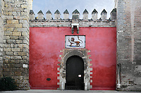 View from the front of the Puerta del Leon (Lion Gate), Real Alcazar, Seville, Spain, pictured on January 2, 2007, in the afternoon. The Real Alacazar was commissioned by Pedro I of Castile in 1364 to be built in the Mudejar style by Moorish craftsmen. The palace, built on the site of an earlier Moorish palase, is a stunning example of the style. The gate leads into the Patio de la Monteria (Hunting Courtyard). Picture by Manuel Cohen.
