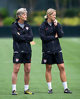 Pia Sundhage, Dawn Scott. The USWNT practice at WakeMed Soccer Park in preparation for their game with Japan.