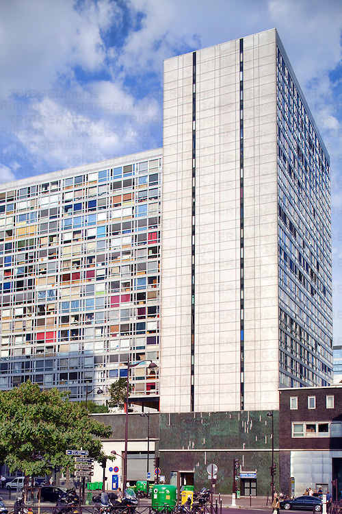 High rise apartment building with coloured windows