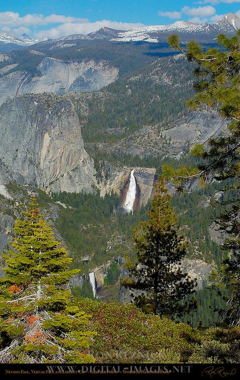 Nevada Fall, Vernal Fall and Liberty Cap in Spring, Glacier Point, Yosemite National Park