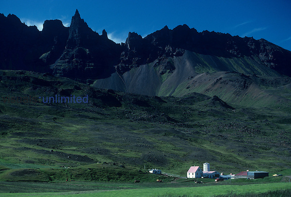 Farm in the volcanic landscape of Iceland.