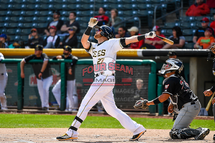 Jett Bandy (27) of the Salt Lake Bees at bat against the El Paso Chihuahuas in Pacific Coast League action at Smith's Ballpark on April 24, 2016 in Salt Lake City, Utah. This was Game 2 of a double-header.  Salt Lake defeated El Paso 6-5. (Stephen Smith/Four Seam Images)
