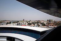 View from the Borj Al-Fateh Hotel in central Khartoum. The five star hotel, financed by the Libyan government, is a symbol of the recent boom in development in Khartoum.