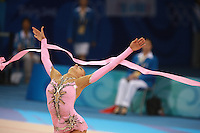 August 23, 2008; Beijing, China; Rhythmic gymnast Evgenia Kanaeva of Russia releases with ribbon on way to winning gold in the All-Around final at 2008 Beijing Olympics..(©) Copyright 2008 Tom Theobald