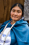 Woman in Otavalo marketplace in Ecuador