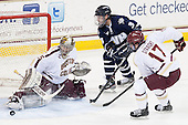 Parker Milner (BC - 35), Austin Block (UNH - 3), Destry Straight (BC - 17) - The Boston College Eagles defeated the visiting University of New Hampshire Wildcats 5-2 on Friday, January 11, 2013, at Kelley Rink in Conte Forum in Chestnut Hill, Massachusetts.