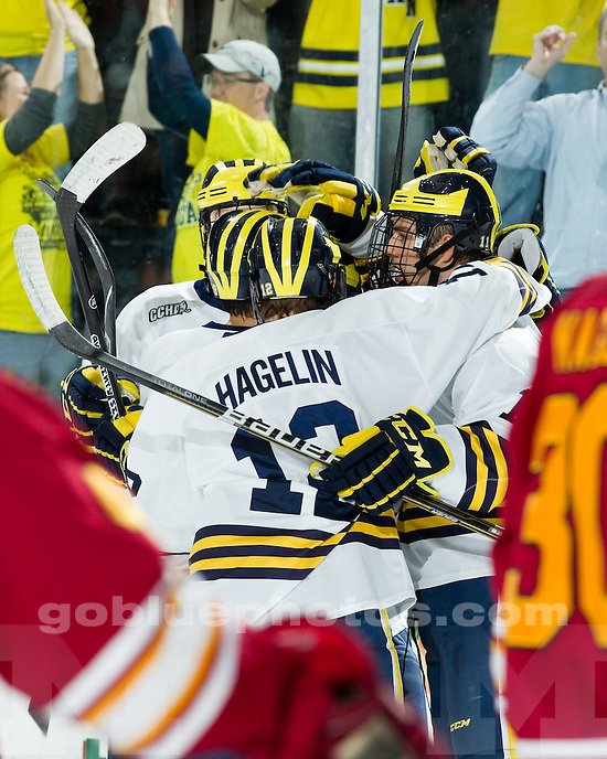 University of Michigan ice hockey 3-2 victory over Ferris State at Yost Ice Arena in Ann Arbor, MI< on October 30, 2010.