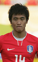 South Korea's Ki Han Moon (14) stands on the field before the FIFA Under 20 World Cup Quarter-final match between Ghana and South Korea at the Mubarak Stadium  in Suez, Egypt, on October 09, 2009.