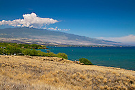 Puako Bay and Hualalai Volcanic Mountain, Kohala, Big Island, Hawaii, USA, Pacific Ocean