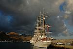 Tall masted tall ship Christian Radich docked in,  Santa Cruz harbour, Tenerife,  Canary Islands.
