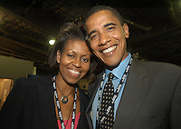 BOSTON, MA - JULY 26, 2004: Barack and Michelle Obama backstage during the 2004 Democratic National Convention in Boston, Massachusetts.
