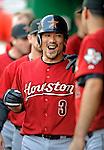 12 July 2008: Houston Astros' second baseman Kazuo Matsui celebrates scoring with teammates in the dugout during action against the Washington Nationals at Nationals Park in Washington, DC. The Astros defeated the Nationals 6-4 in the second game of their 3-game series...Mandatory Photo Credit: Ed Wolfstein Photo