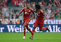 FUSSBALL   1. BUNDESLIGA  SAISON 2012/2013   2. Spieltag  02.09.2012 FC Bayern Muenchen - VfB Stuttgart       JUBEL FC Bayern nach dem Tor zum 3-1;  Torschuetze Luiz Gustavo und Dante (re)