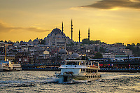 Fine, Art, Print, Photograph, Bosphorus, Strait,  Suleymaniye, Mosque, Istanbul, Turkey, Golden, Rays, Setting, Sun, Texture Buildings, Waterway, Bosphorus,<br />