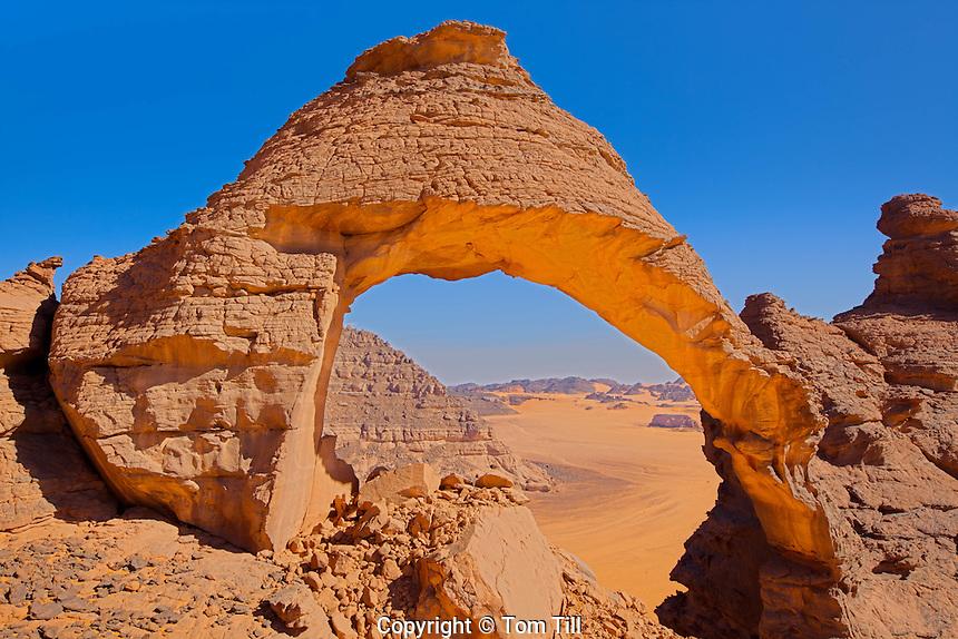 Steroid  Arch, Jebel Acacus, LIbya, Mountains in Sahara Desert UNESCO World Heritage Site