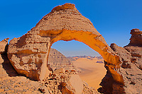 Steroid  Arch, Jebel Acacus, LIbya, Mountains in Sahara Desert UNESCO World Heritage Site