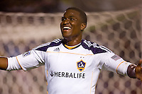 LA Galaxy forward and goal leader Edson Buddle begins his celebration after scoring a goal. The LA Galaxy defeated the Columbus Crew 3-1 at Home Depot Center stadium in Carson, California on Saturday Sept 11, 2010.