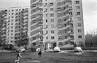 ROMANIA, Drumul Taberei, Bucharest, 12.1987.Sunset between apartment blocks..© Andrei Pandele / EST&OST