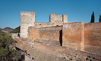Alcazaba, oldest part of the Alhambra, built in the mid-13th century by the Sultan Alhamar, the founder of the Nasrid dynasty, Granada, Andalusia, Spain Picture by Manuel Cohen