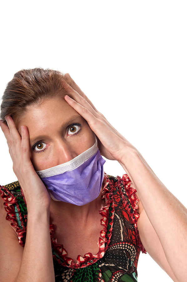 Caucasian woman in his 40s protecting herself from pandemic virus.