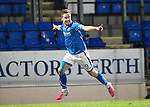 St Johnstone v Motherwell....25.02.14    SPFL<br /> Steven MacLean celebrates his first goal<br /> Picture by Graeme Hart.<br /> Copyright Perthshire Picture Agency<br /> Tel: 01738 623350  Mobile: 07990 594431
