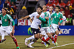 Clint Dempsey (8), Carlos Ochoa (11) Rafael Marquez (4) and Laenor Augusto (6) jockey for position. US Men's National Team vs. Mexico at Crew Stadium in Columbus, Ohio in World Cup Qualifier. USA 2 - Mexico 0