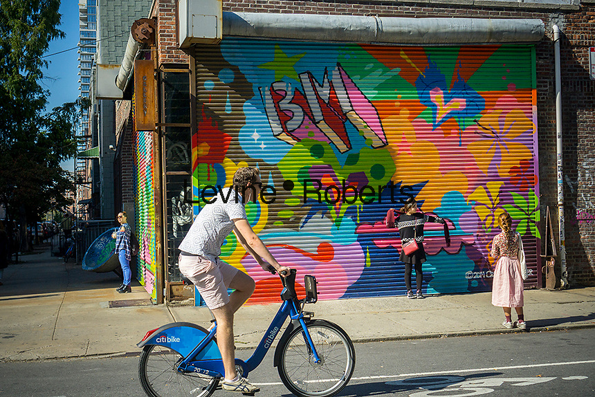 Activity in the popular  Williamsburg neighborhood of Brooklyn in New York on Saturday, October 15, 2016. © Richard B. Levine)