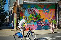 Activity in the popular  Williamsburg neighborhood of Brooklyn in New York on Saturday, October 15, 2016. © Richard B. Levine)