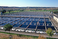 Overview of the rectangular ponds of a fish farming installation in Rural Idaho. Boise Idaho.