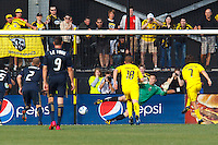 24 OCTOBER 2010: Columbus Crew midfielder/forward Guillermo Barros Schelotto (7) score on a penality kick against Philadelphia Union goalkeeper Chris Seitz (1) during MLS soccer game at Crew Stadium in Columbus, Ohio on August 28, 2010.
