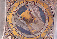 Ox, symbolizing Luke the Evangelist, painted cupola of the nave, by Raymond Feuillatte, 20th century, Nanterre Cathedral (Cathédrale Sainte-Geneviève-et-Saint-Maurice de Nanterre), 1924 - 1937, by architects Georges Pradelle and Yves-Marie Froidevaux, Nanterre, Hauts-de-Seine, France. Picture by Manuel Cohen