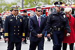 Funeral procession for L.A.F.D. firefighter Glenn Allen. Thousand of firefighters from all over California lined the streets of downtown L.A. and saluted the casket of fallen firefighter Glenn Allen. The procession began near LA City Hall and ended at the Cathedral of Our Lady of Angels.