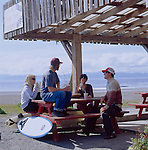 Surfers at Shakies in Jordan River, Vancouver Isalnd, British Columbia, BC