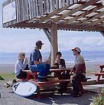 Surfers at Shakies in Jordan River, Vancouver Isalnd, British Columbia, BC
