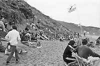 Spectators on the cliffs and on the beach  during the  running of the 1976 Rip Curl Pro, Bells Beach, Torquay, Victoria, Australia. Easter 1976. .Photo:  joiliphotos.com