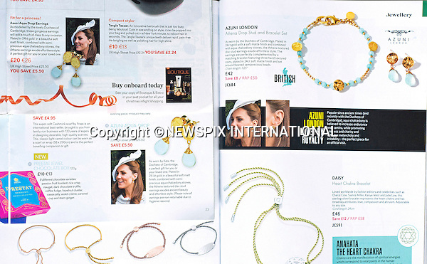KATE JEWELLERY ADVERTISEMENTS<br /> As the Duke and Duchess of Cambridge travel to New Zealand and Australia accompanied by Prince George, they are likely to be confronted by an advertisment that breaks the rules.<br /> A number of in-flight magazines are advertising earrings being worn by Kate.<br /> Advertisements using members of the Royal Family are not permitted, so there will have been immediate action from the Royal Household_02/03/2014<br /> Mandatory Photo Credit: &copy;NEWSPIX INTERNATIONAL<br /> <br /> **ALL FEES PAYABLE TO: &quot;NEWSPIX INTERNATIONAL&quot;**<br /> <br /> PHOTO CREDIT MANDATORY!!: NEWSPIX INTERNATIONAL(Failure to credit will incur a surcharge of 100% of reproduction fees)<br /> <br /> IMMEDIATE CONFIRMATION OF USAGE REQUIRED:<br /> Newspix International, 31 Chinnery Hill, Bishop's Stortford, ENGLAND CM23 3PS<br /> Tel:+441279 324672  ; Fax: +441279656877<br /> Mobile:  0777568 1153<br /> e-mail: info@newspixinternational.co.uk