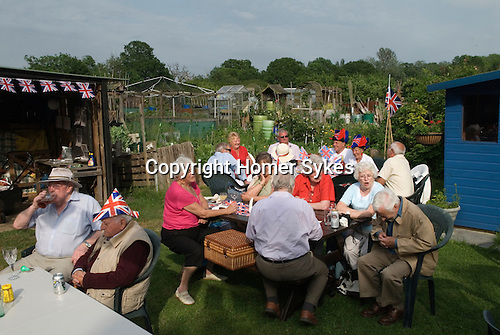 Queen Elizabeth ii Diamond Jubilee allotment party. Paddock Allotments, Cannon Hill Common, Merton SW London.